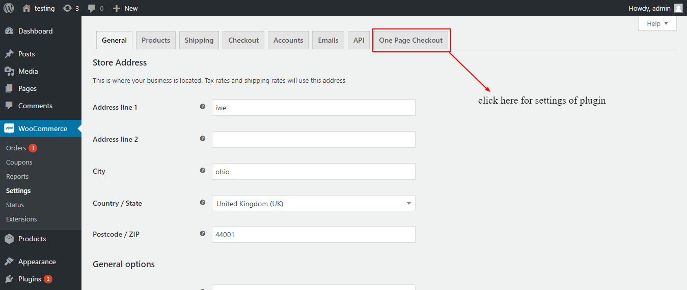 woocommerce one page checkout settings