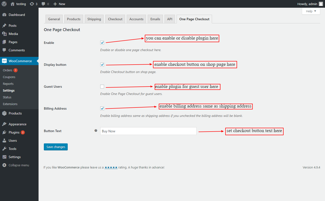woocommerce one page checkout plugin settings