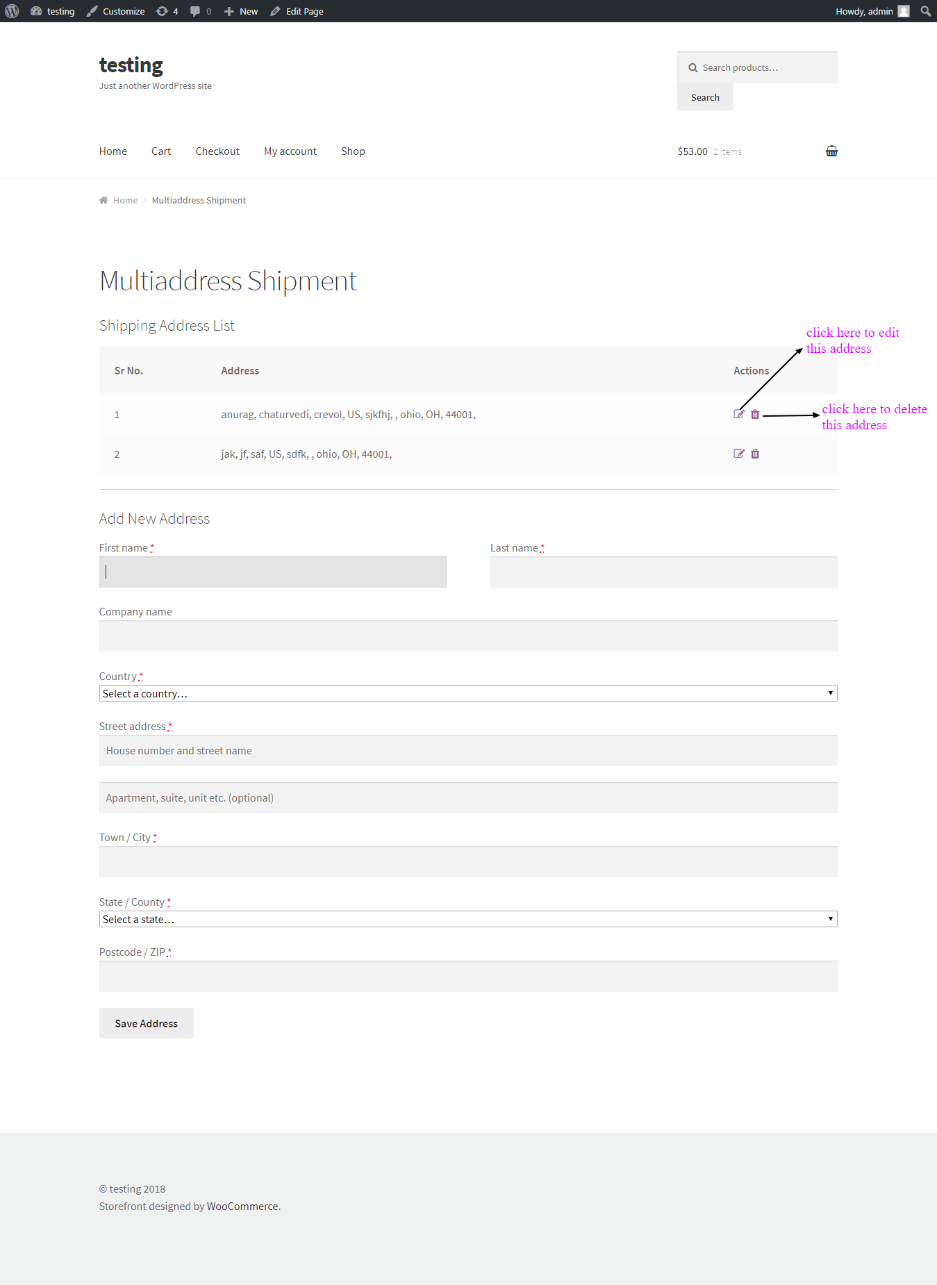 Woocommerce Multi-address Shipping Address list