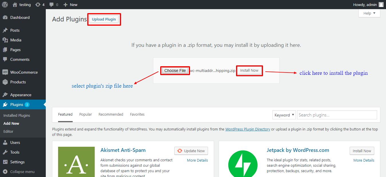 Upload Woocommerce Multi-Address-Shipping