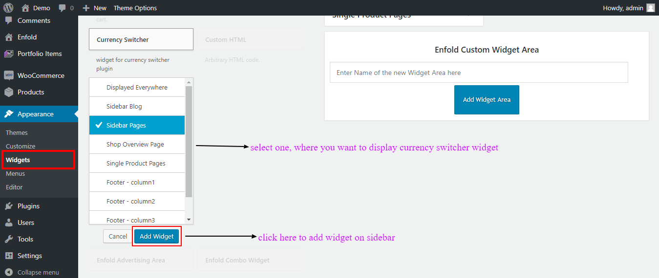 Widget Woocommerce Currency Switcher