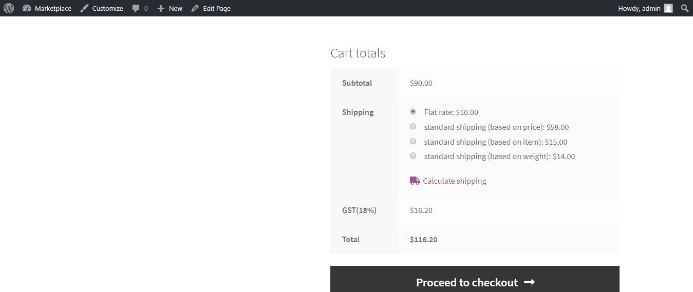 shipping cost on checkout