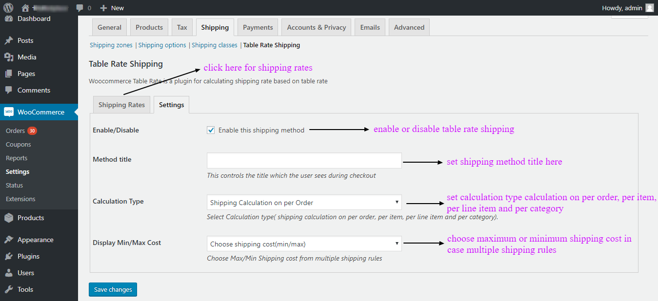 woocommerce table rate shipping settings