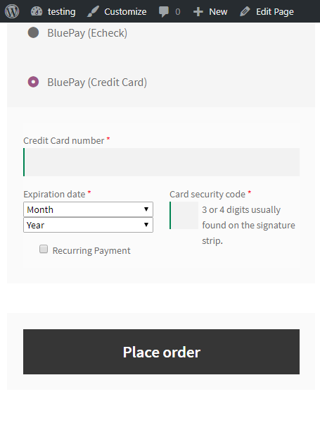 woocommercebluepay payment credit card