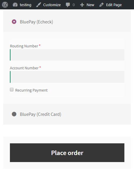 woocommerce bluepay payment echeck