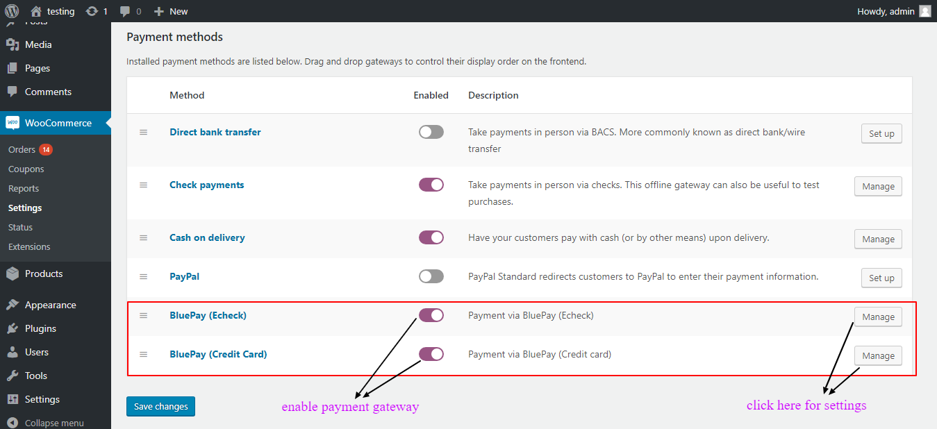 woocommerce bluepay payment enable