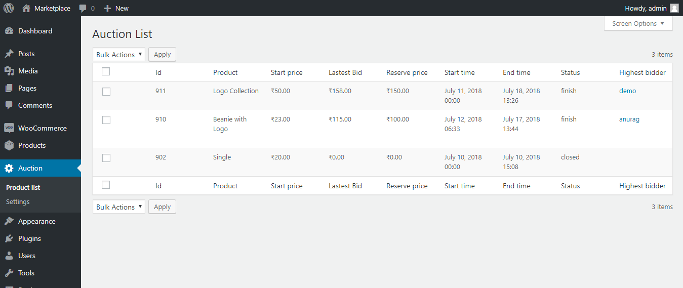 woocommerce products auction list