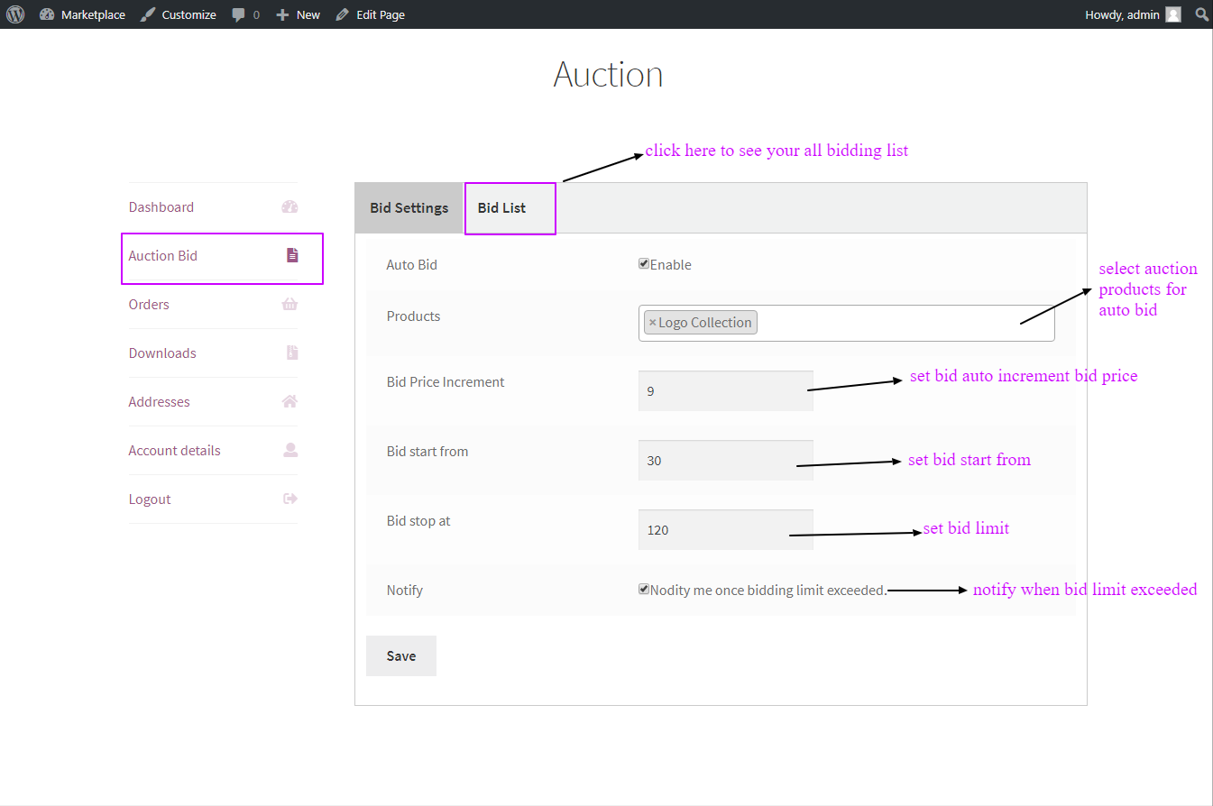 woocommerce products auction auto bid setting