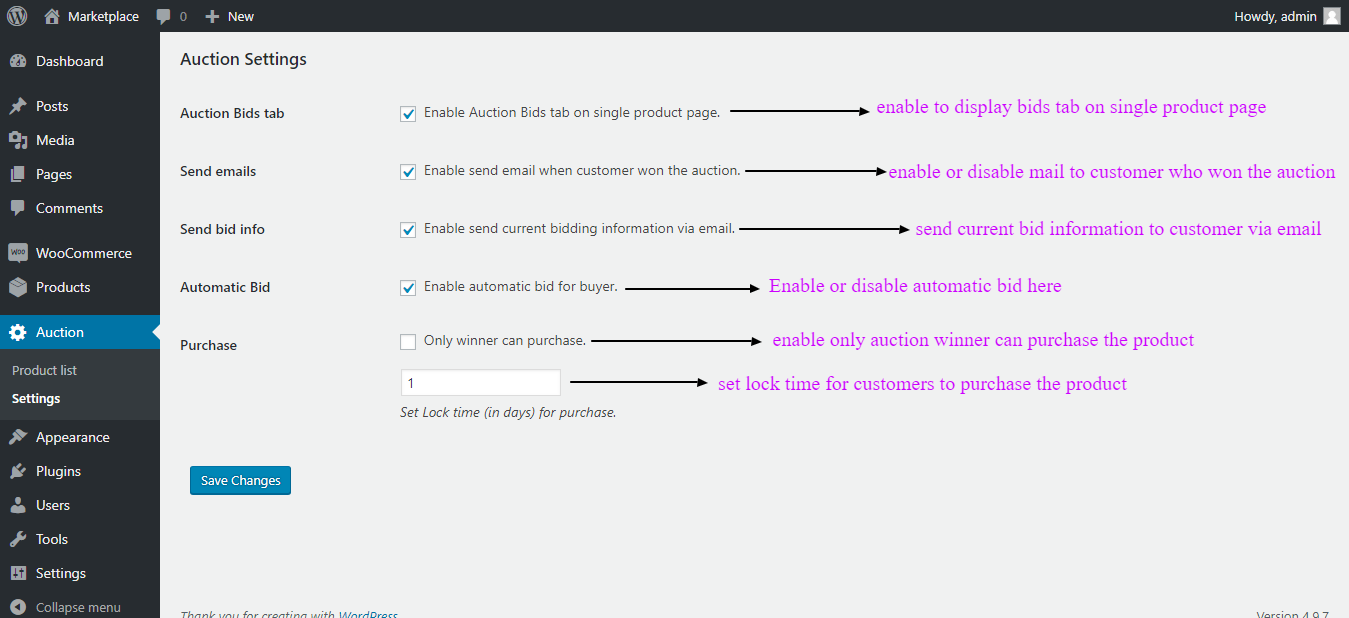 woocommerce products auction settings