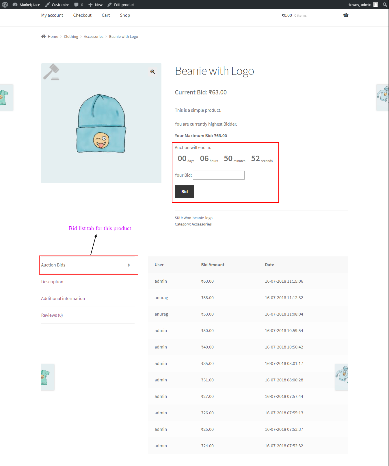 woocommerce products auction single product