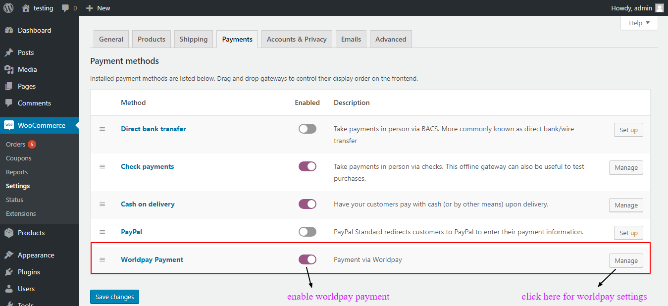 woocommerce worldpay payment enable