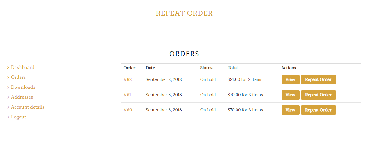Repeat Order list