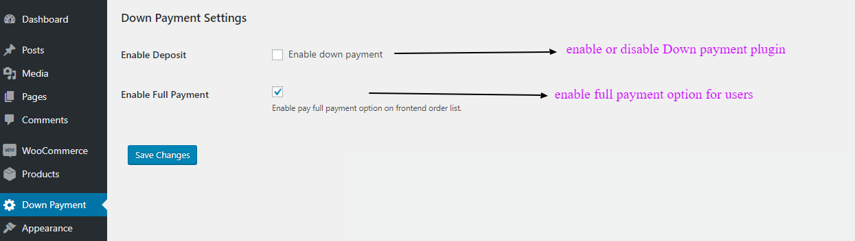 down payment admin settings
